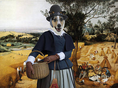 Painting - Collie Smooth - Smooth Collie Art Canvas Print - The Harvesters by Sandra Sij