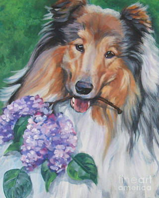 Collie With Lilacs Print by Lee Ann Shepard