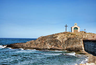 Photograph - Collioure Church Cross On Hill  by Chuck Kuhn