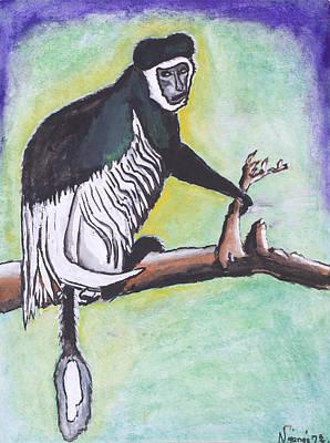 Kenyan Painting - Collobus Monkey by Ken Nganga
