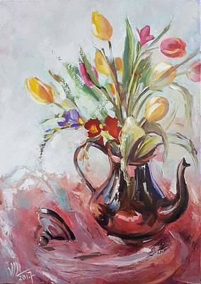 Painting - Coloreful Tulips In A Cupper Teapot by Vali Irina Ciobanu