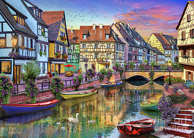 Canals Digital Art - Colmar Canal by MGL Meiklejohn Graphics Licensing