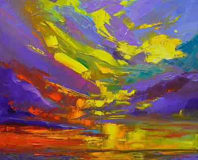 Coloful Sunset, Oil Painting, Modern Impressionist Art Original by Patricia Awapara