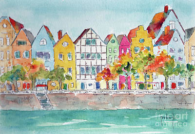 Painting - Cologne Along The Rhine by Pat Katz