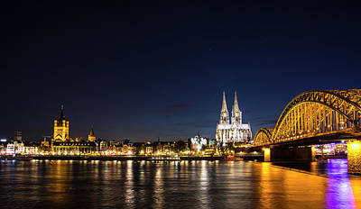 Photograph - Cologne At Night by Alexandra-Emily Kokova
