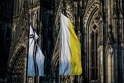 Photograph - Cologne Cathedral Flags by Ross Henton