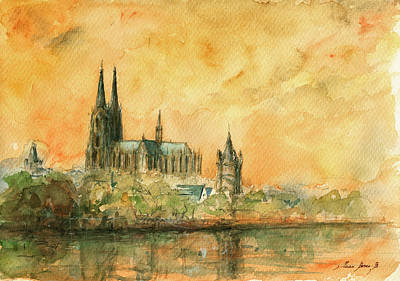 Cathedral Painting - Cologne Cathedral by Juan  Bosco