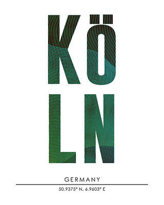 Mixed Media - Cologne, Germany - City Name Typography - Minimalist City Posters by Studio Grafiikka