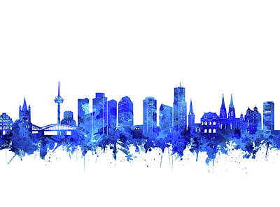 Digital Art - Cologne City Skyline Blue by Bekim Art