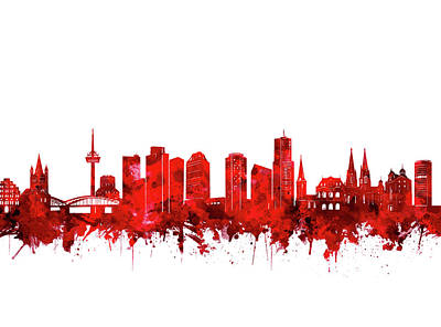 Digital Art - Cologne City Skyline Red by Bekim Art