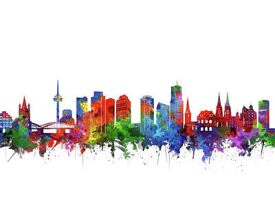 Abstract Skyline Royalty-Free and Rights-Managed Images - Cologne City Skyline Watercolor 2 by Bekim M