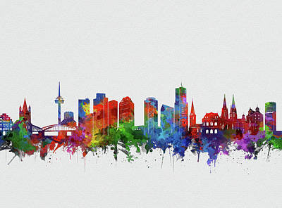 Abstract Skyline Royalty-Free and Rights-Managed Images - Cologne City Skyline Watercolor by Bekim M