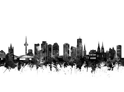 Digital Art - Cologne Skyline Black And White by Bekim Art
