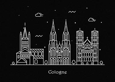 Abstract Landscape Drawing - Cologne Skyline Travel Poster by Inspirowl Design
