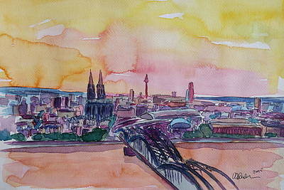 Impressionistic Painting - Cologne Skyline With Deutz Bridge And Rhine II  by M Bleichner
