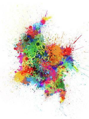 South America Wall Art - Digital Art - Colombia Paint Splashes Map by Michael Tompsett