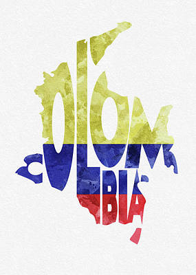Colombia Digital Art - Colombia Typographic Map Flag by Inspirowl Design