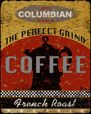 French Signs Mixed Media - Colombian Coffee Fresh Roast by Marilu Windvand