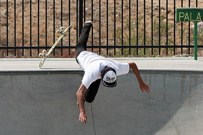 Photograph - Colombian Skater Cris Arevalo At Pala Skatepark San Diego Califo by Adam Rainoff
