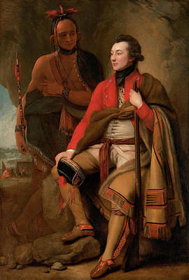 Colonel Wall Art - Painting - Colonel Guy Johnson And Karonghyontye by Benjamin West