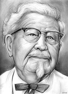 Chicken Drawing - Colonel Sanders by Greg Joens