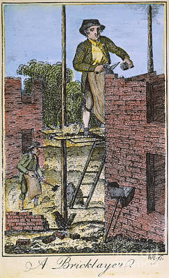 Colonial Man Photograph - Colonial Bricklayer, 18th C by Granger