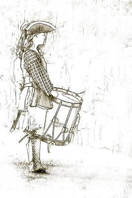 Colonial Drummer Portrait Sketch Art Print by Randy Steele