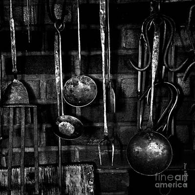 Photograph - Colonial Fireplace Cooking Tools Black And White Square by John Stephens