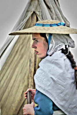 Colonial Girl In Army Camp Art Print