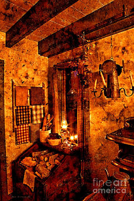 Photograph - Colonial Kitchen Evening Warmth by John Stephens