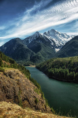 Colonial Peak Towers Over Diablo Lake Art Print by Charlie Duncan