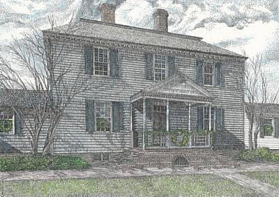 Carter House Drawing - Colonial Williamsburg's Carter House by Stephany Elsworth