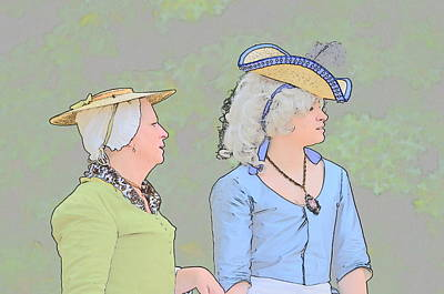 On Trend At The Pool - Colonial Women by Robert Nelson