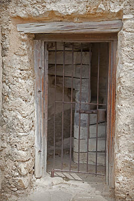 Photograph - Colonial Weathered Stone Rustic Wood Mission Doorway by John Stephens