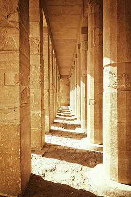 Colonnade At The Temple Of Queen Hatshepsut In Egypt Art Print