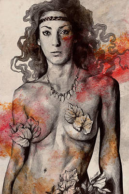 Warrior Woman Wall Art - Drawing - Colony Collapse Disorder - Topless Warrior Woman With Leaves On Nude Breasts by Marco Paludet