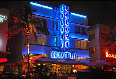 Colony Hotel On Ocean Drive Art Print