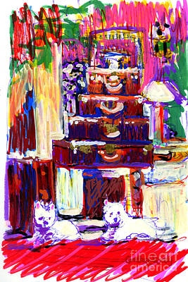 Dog Clothes Painting - Colony Lobby With Louis Vuitton And Westies by Candace Lovely