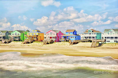 Desert Mixed Media - Color Beach Homes In The Morning by Garland Johnson