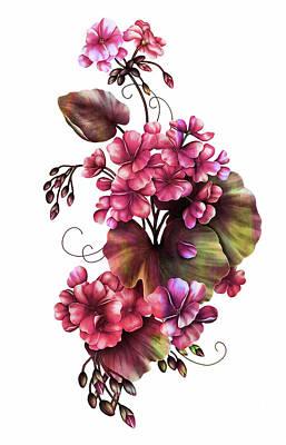 Mixed Media - Color Blush Geraniums On White by Georgiana Romanovna