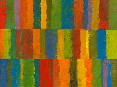 Painting - Color Collage With Stripes by Michelle Calkins