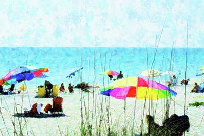 Color Filled Beach Day Art Print by Florene Welebny