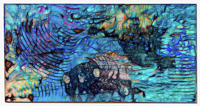 Pop Art - Color Game with Blue Waves  by Judith Barath