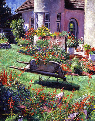 Flowerpots Painting - Color Garden Impression by David Lloyd Glover