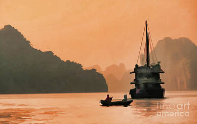 Photograph - Color Ha Long Bay Boats Paint  by Chuck Kuhn