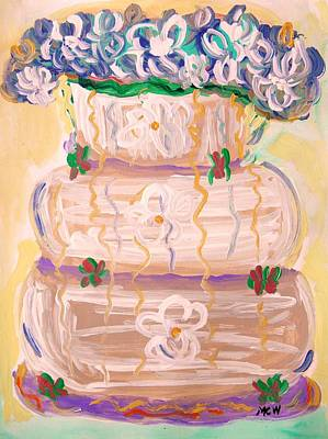 Jazzy Drawing - Color In A Wedding Cake by Mary Carol Williams
