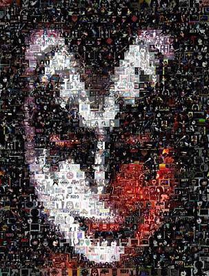 Concert Digital Art - Color Kiss Gene Simmons Mosaic by Paul Van Scott