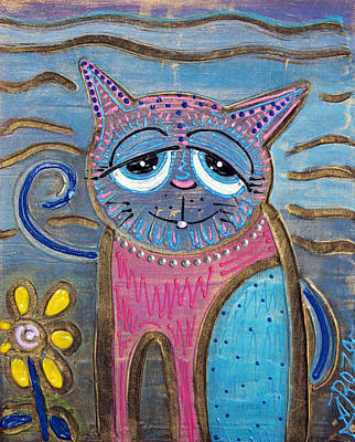 Folk Art Mixed Media - Color Me Cat by Laura Barbosa