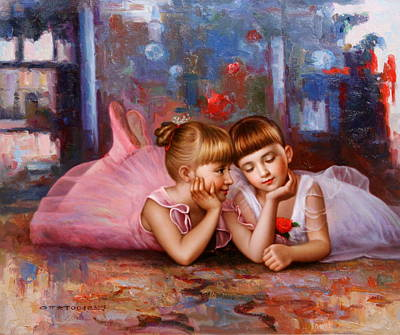 Color Of Melody -two Young Ballerina Art Print