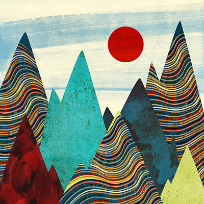 Abstract Landscape Digital Art - Color Peaks by Spacefrog Designs